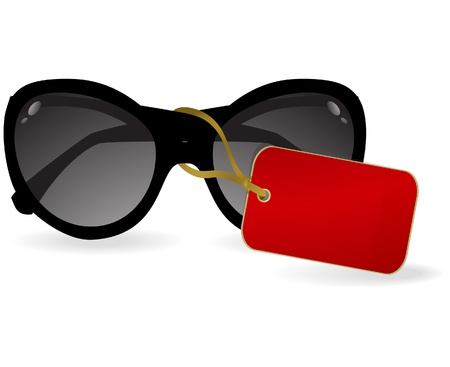 Sun glasses with a red label. Vector illustration Stock Vector - 9565073