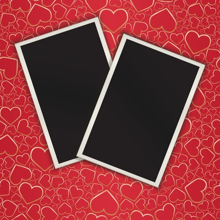 Two photograces on seamless a background with hearts. Vector illustratoin