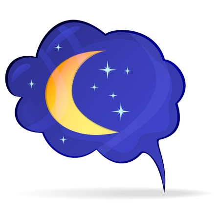 dark cloud: Bubble with the moon and stars - an icon. Vector illustration