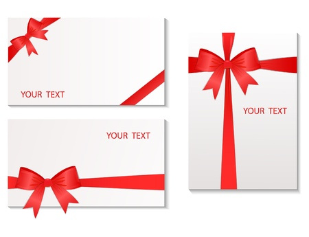 tied up: Set of the cards which have been tied up by a red tape. Vector illustration Illustration