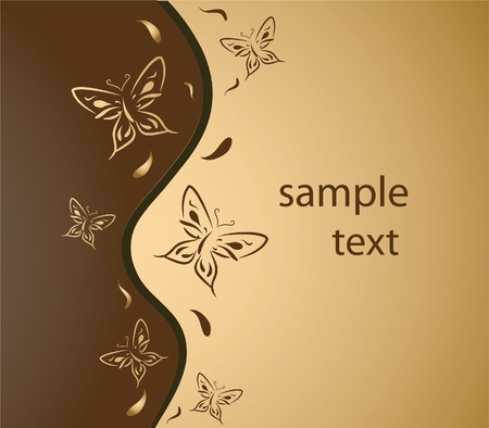 Gold background with an ornament from butterflies and a place for text. Vector illustration