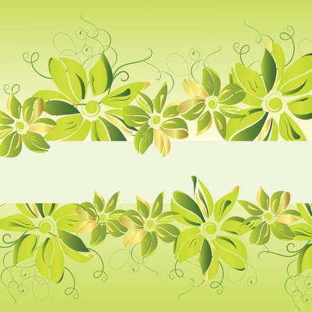 Green floral banner. Vector illustration Stock Vector - 9613546