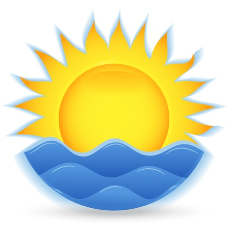ocean sunset: The sun and the sea. An icon for the project. Vector illustration