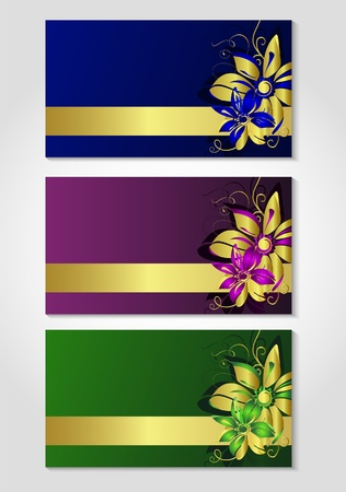 Cards with flower drawing. Vector illustration Illustration