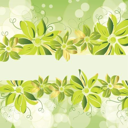 Green floral banner. Vector illustration