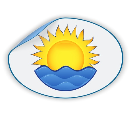 sea mark: Label with the image of the sun and waves. Vector illustration