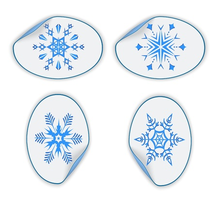 Set of blue stickers with snowflakes. Vector illustration Vector