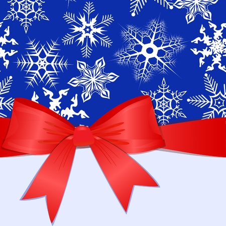 trumpery: Pattern with snowflakes, red bow and place for text