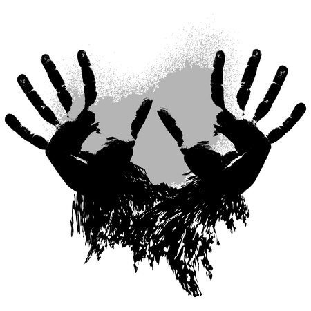 Print of two grunge hands. Vector illustration Vector
