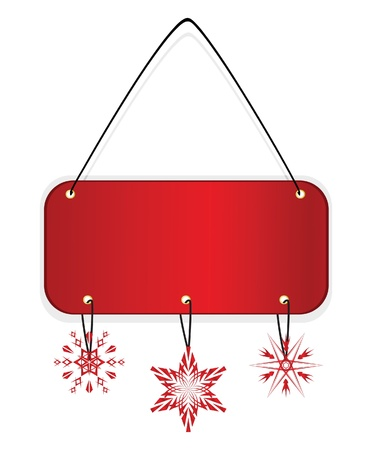 christmas promotion: Red xmas badge with snowflakes. Vector illustration