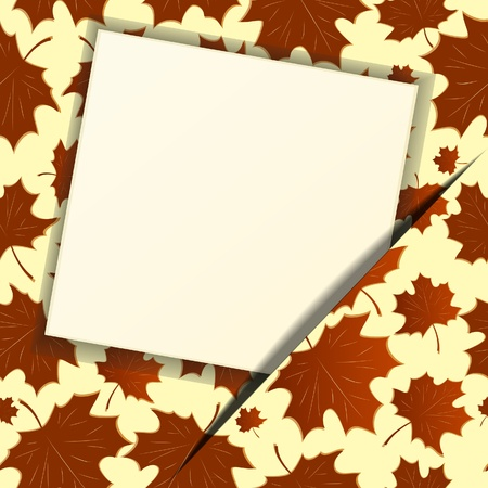 Autumn background with an empty paper. Vector