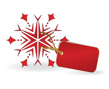 Snowflake with a label. Vector