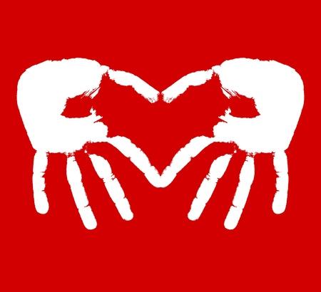 Two hands representing heart. Stock Vector - 10844090