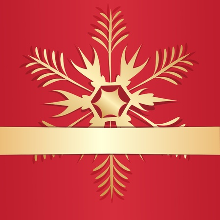 Gold snowflake adhered to a surface by a tape.  Vector