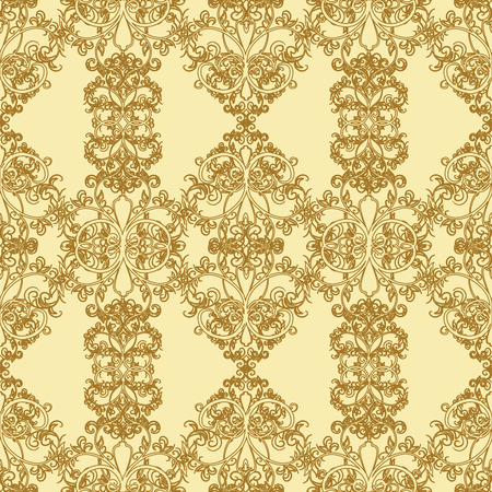 corazones: Gold seamless pattern. illustration