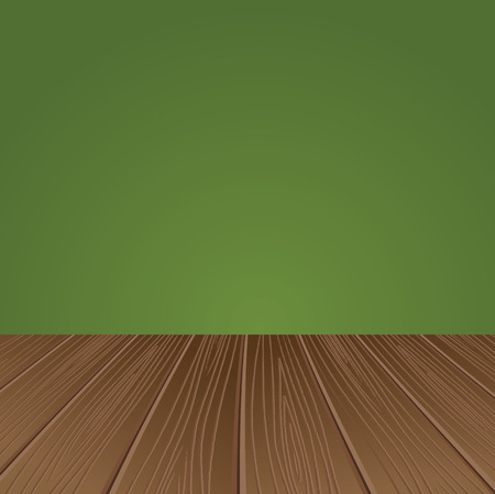 wood surface: Green wall with a wooden floor. Vector illustration