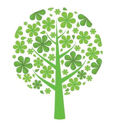 raw materials: Fresh green  background. Flowers tree. Vector illustration Illustration