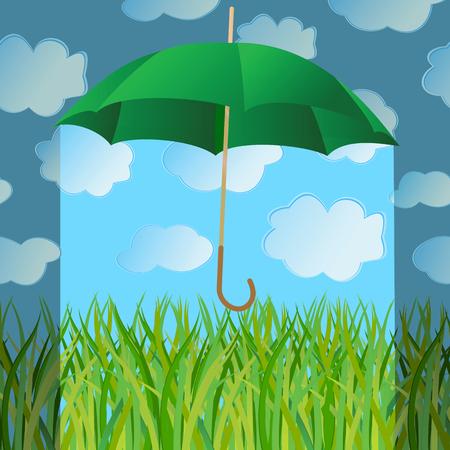 The umbrella closes a green grass from a rain. Vector illustration
