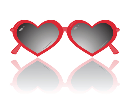 Sunglasses in the form of heart isolated on a white background. Vectir illustration