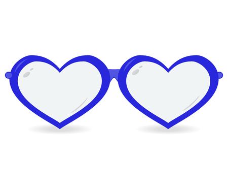 Sunglasses in the form of heart isolated on a white background.  Vector icon Illustration