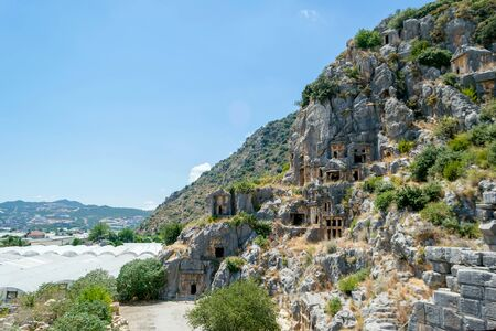 Lycian rock tombs in the city of Demre in Turkey. Antique necropolis.