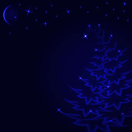 glowing spruce star sky moon night