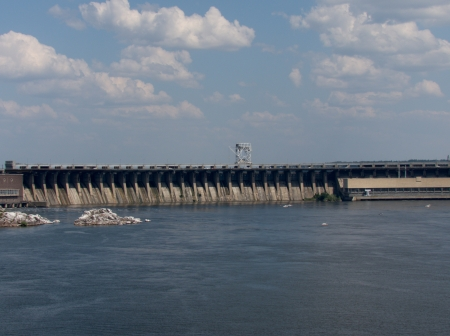 Zaporozhye dam on a hot cloudy day photo