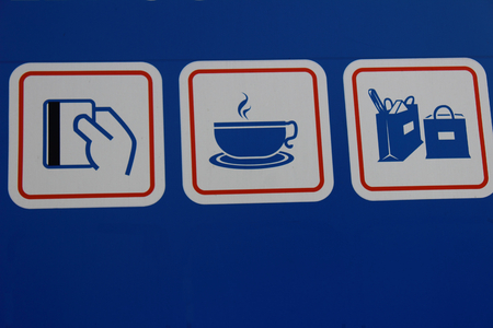 supermarket series: icons, speaking about the services at the gas station: clearing, cafes, shopping
