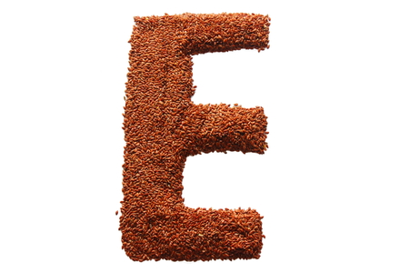 lon: lon a white background from flax seeds lined letter e