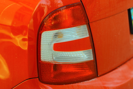 taillight: taillight on a red car