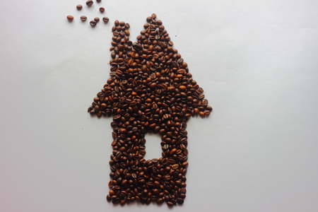 large bean: from coffee beans laid out house