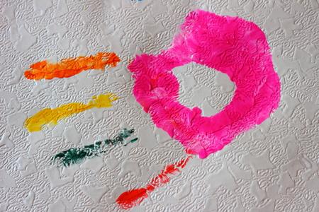 handprint: handprint paint on the wallpaper
