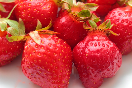 freshest: on a plate close-up red freshest strawberries Stock Photo