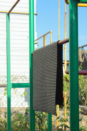 metal structure: outdoors on a metal structure dried mat