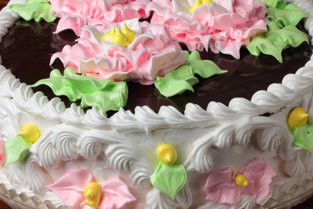 chocolate icing: close-up of birthday cake with chocolate icing Stock Photo