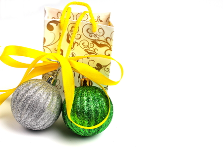 gift bag: on a white background isolated gift bag and Christmas balls