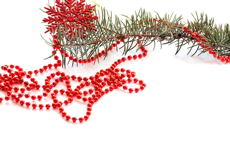 christmas beads: Christmas beads and snowflake isolated on white background Stock Photo