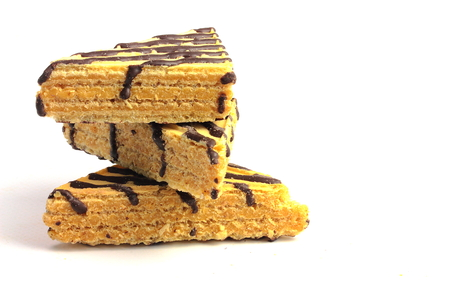 superimposed: wafer cake pieces are superimposed on a white background isolated Stock Photo