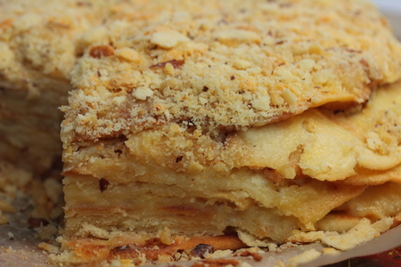 crusted: It is a sweet delicious cake napoleon