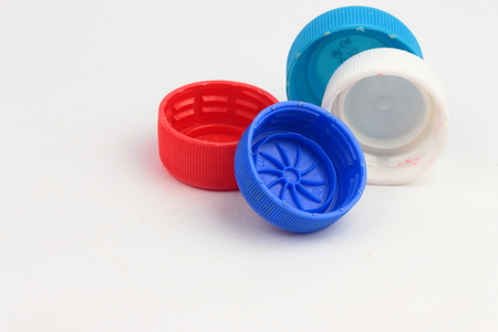 Plastic bottle caps are of different colors
