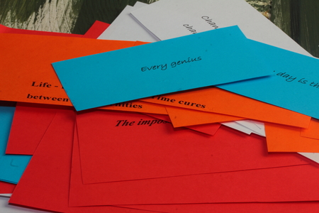 Are Colorful Sheets Of Paper With Different Sayings Stock Photo ...