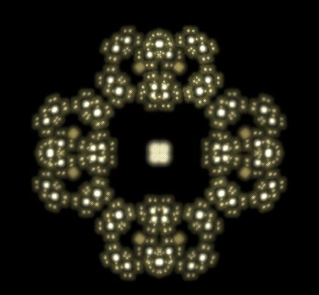 interconnected: fractal as light circles interconnected like atoms Stock Photo