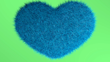 Blue heart with green hope background.