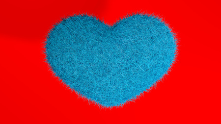 Blue heart with red passion background. Stock Photo