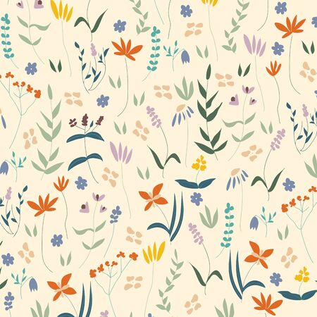 Botanical Floral seamless vector pattern with leaves and florals editable and separable