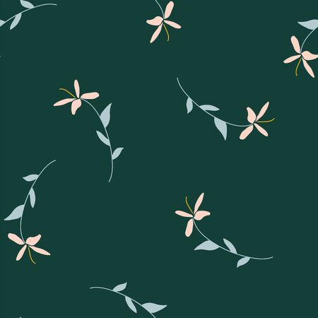 floral and leaves seamless vector pattern 일러스트
