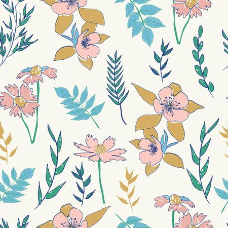 textured abstract botanical florals seamless vector pattern. vintage inspired 일러스트