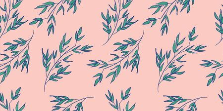pink and green trendy leaf pattern. hand drawn leaves