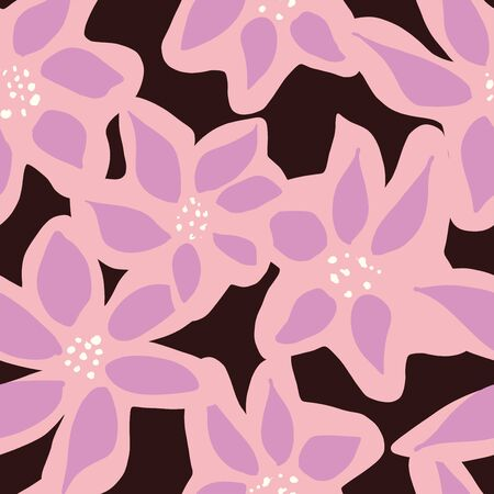 pink and purple mod abstract expressive floral. seamless vector pattern