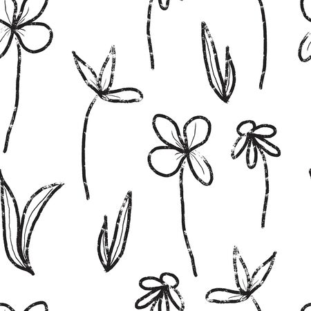 black and white hand drawn textured botanical seamless vector pattern. vintage and retro inspired